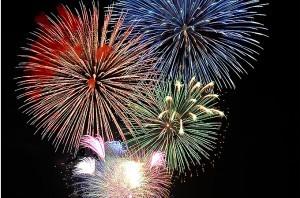 志津川湾夏祭りでの花火
