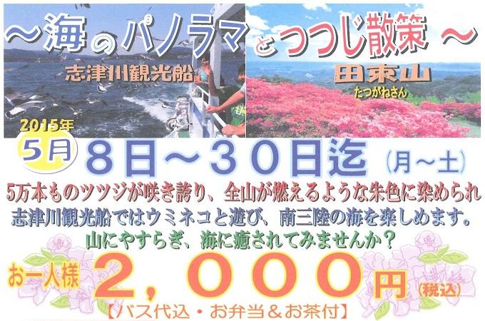 5月限定「志津川観光船&つつじ散策プラン」登場!!